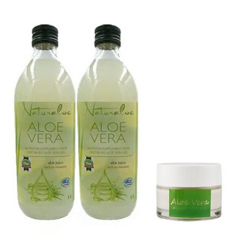 2 sticle Aloe Vera Natural 1 L + 1x Crema HYDRA MAGIC