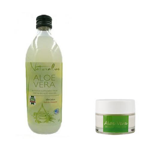 Aloe Vera Natural 1 L + 1x Crema HYDRA MAGIC