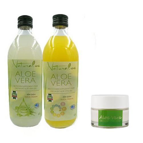 Pachet 2 sticle Aloe Vera Natural si Multivitamin 1 L + 1x Crema HYDRA MAGIC